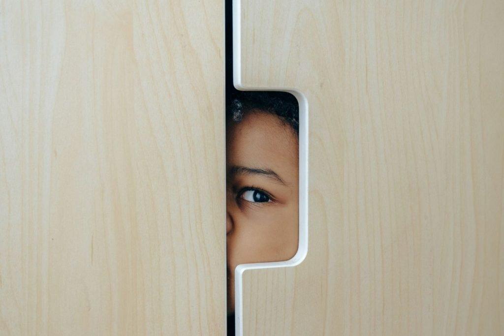 Little broom closet witch hiding in a closet